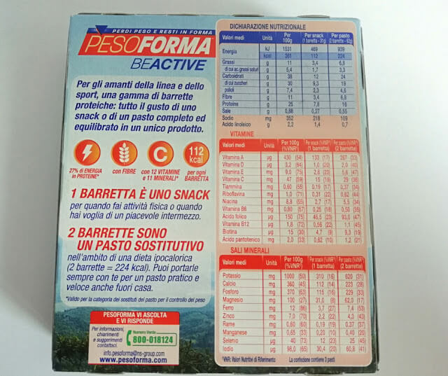 pesoforma tabella nutrizionale