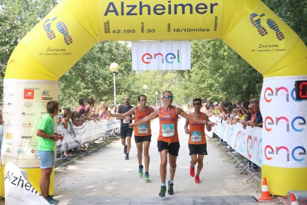 Mezza maratona Alzheimer traguardo