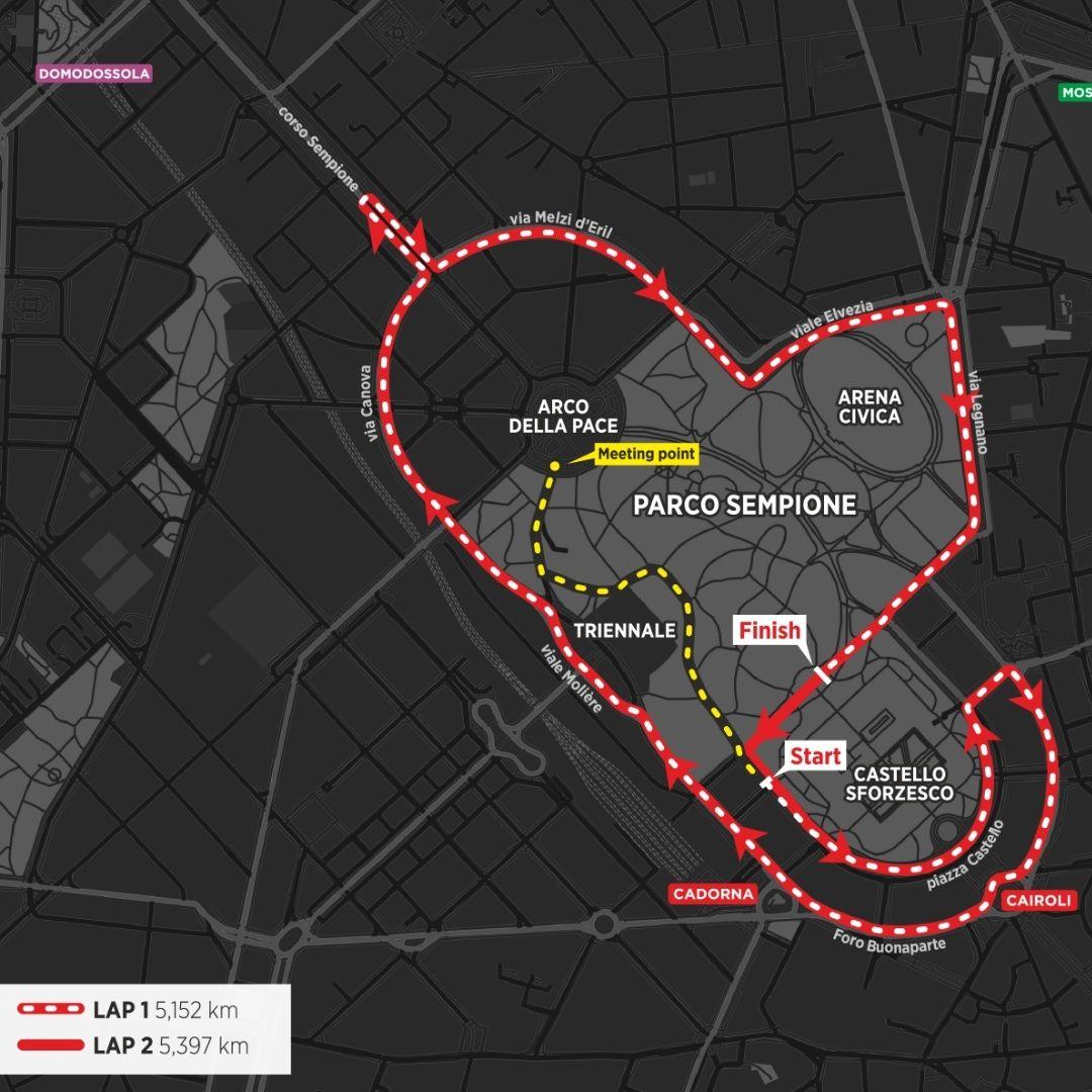 mappa percorso 10 km Milano 16 maggio 2021